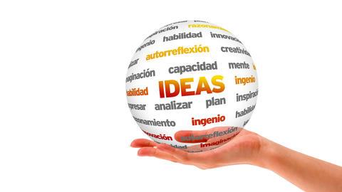 Ideas Word Sphere (In Spanish) Stock Video Footage