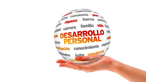 Personal Development word sphere (In Spanish) Stock Video Footage