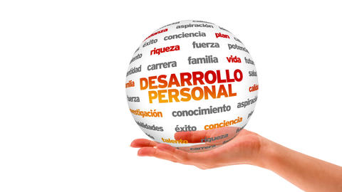 Personal Development Word Sphere (In Spanish) stock footage