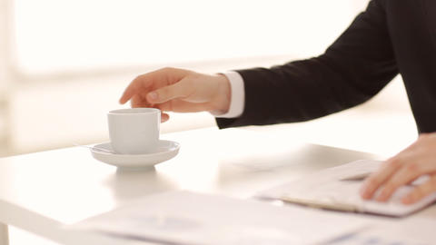 coffee break while signing a contract Stock Video Footage