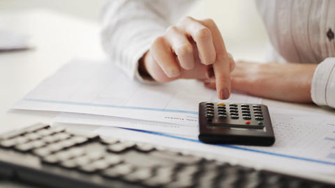 accountant making calculations and working with co Stock Video Footage