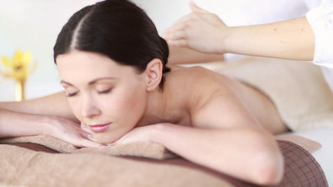 happy woman relaxing in spa salon Footage