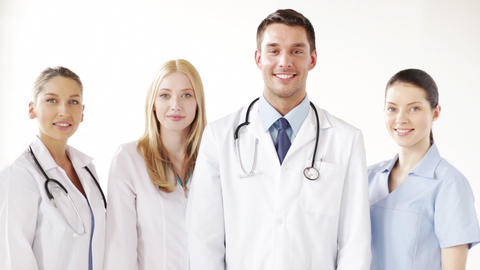 group of doctors with thumbs up Stock Video Footage