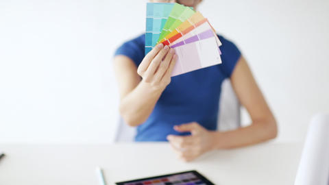 woman with color samples for selection Footage