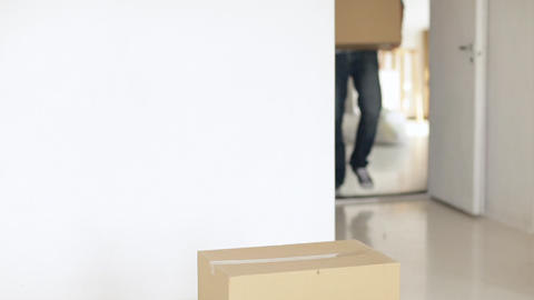 man moving big cardboard boxes Stock Video Footage