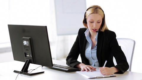 attractive helpline operator in office Footage