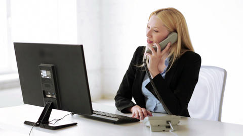 attractive office worker taking phone call Footage