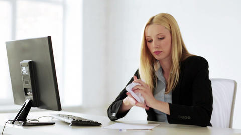 business woman working with papers in office Stock Video Footage