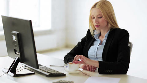 business woman having a coffee break in office Stock Video Footage