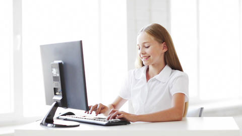 happy student working with computer Stock Video Footage