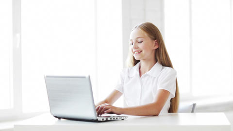 happy student working with laptop Stock Video Footage