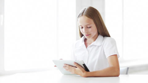 happy student girl with tablet pc Stock Video Footage
