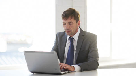 Businessman Working With Laptop Computer stock footage