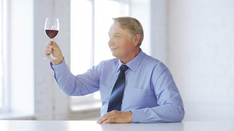 Expert In Suit And Tie With A Glass Of Red Wine stock footage