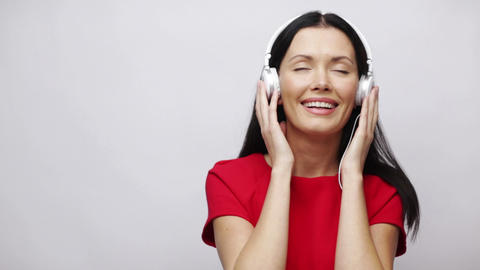 happy singing girl with headphones Stock Video Footage