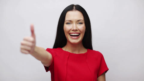 Young Woman With Thumbs Up stock footage