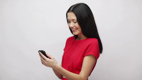 woman with cell phone sending text message Stock Video Footage