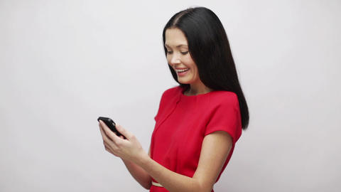 Woman With Cell Phone Sending Text Message stock footage