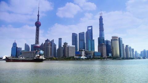 Shanghai China Asia,Lujiazui Financial Center,busy Huangpu River shipping Animation