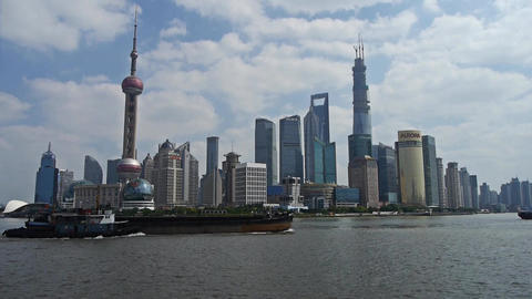 Panoramic of Shanghai bund,Lujiazui Financial Center,busy Huangpu River shipping Animation