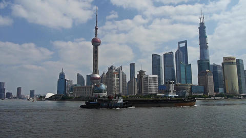 Panoramic of Shanghai bund,Lujiazui Financial Center,busy... Stock Video Footage