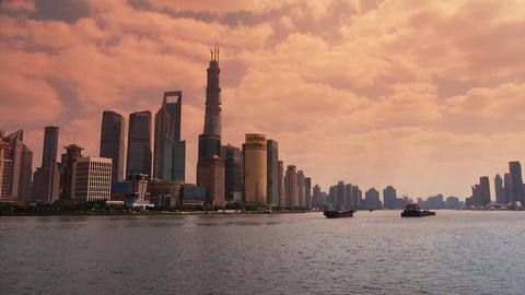 panoramic of Shanghai sunset,Lujiazui Financial... Stock Video Footage