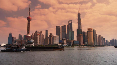 panoramic of Shanghai sunset,Lujiazui Financial Center,busy Huangpu River shippi Animation