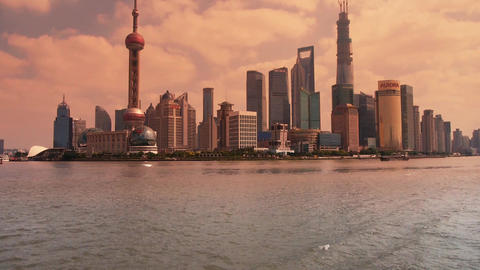 Shanghai sunset,Lujiazui Financial Center,busy Huangpu... Stock Video Footage