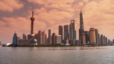 Shanghai sunset,Lujiazui Financial Center,busy Huangpu... Stock Video Footage