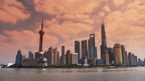 Shanghai sunset,Lujiazui Financial Center,busy Huangpu River shipping Animation