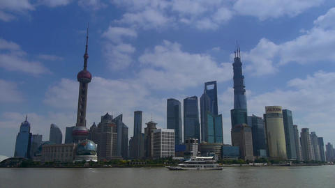 Shanghai Time Lapse,Lujiazui Financial Center,busy Huangpu River shipping Animation