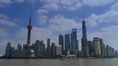 Shanghai Time Lapse,Lujiazui Financial Center,busy Huangpu River shipping Animation
