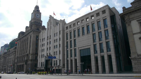 panoramic of Shanghai bund,old business building Animation