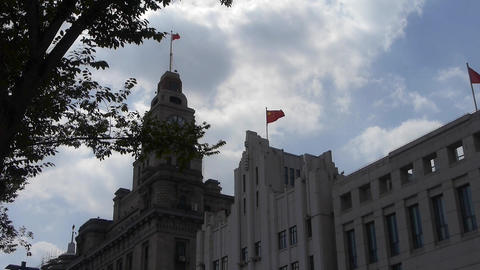 Shanghai bund,old business town building & tree Animation