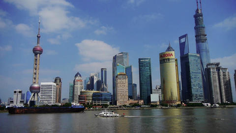 ship sails through downtown Shanghai,Lujiazui economic... Stock Video Footage