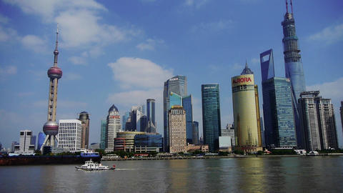 ship sails through downtown Shanghai,Lujiazui economic Center Animation