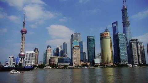 ship sails through downtown Shanghai,Lujiazui economic... Stock Video Footage