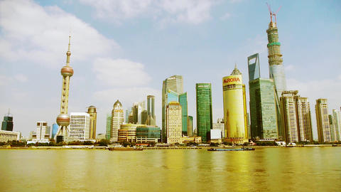 Shanghai timelapse,Lujiazui economic Center,busy shipping Stock Video Footage