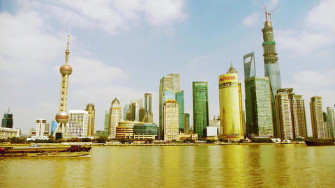 Shanghai timelapse,Lujiazui economic Center,busy shipping Animation