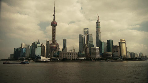 Shanghai Lujiazui business economic Center,urban building & busy shipping Animation