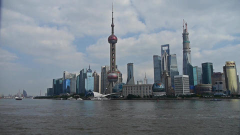 panoramic of Shanghai Lujiazui business Center,urban... Stock Video Footage