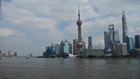 panoramic of Shanghai Lujiazui business Center,urban building & busy shippin Animation