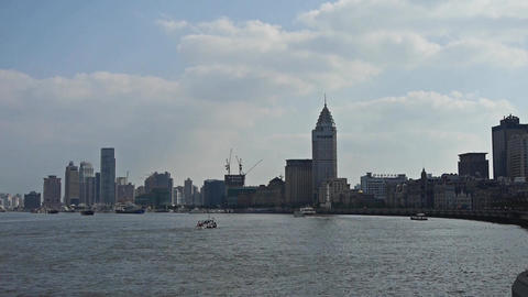Shanghai Bund,huangpu river waterfront & Tourists... Stock Video Footage