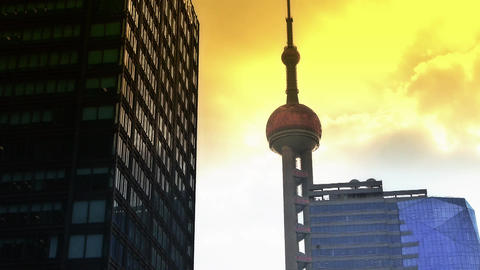 shanghai orient pearl TV tower sunset Stock Video Footage