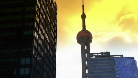 shanghai orient pearl TV tower sunset Animation