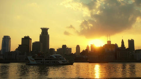 Shanghai bund sunset from pudong zone,ship sail huangpu river Animation