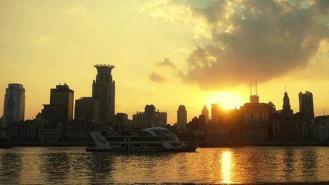 Shanghai bund sunset from pudong zone,ship sail huangpu... Stock Video Footage