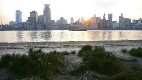 panoramic of Shanghai bund sunset & huangpu... Stock Video Footage