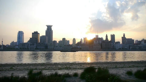 panoramic of Shanghai bund sunset & huangpu river,china urban scene Animation