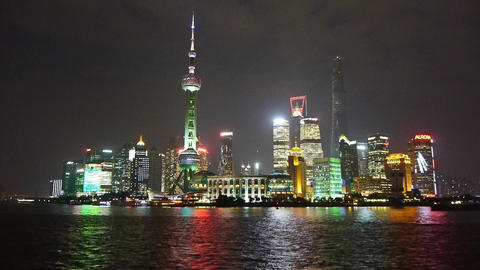 Shanghai night skyline,Lujiazui economic hub,Free trade zone,busy Huangpu River  Animation